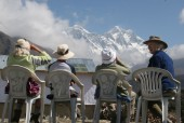 Enjoying Everest view while awaiting for lunch.jpg